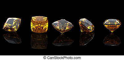 square. Citrine. Collections of jewelry gems on black background