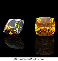 square. Citrine. Collections of jewelry gems on black...