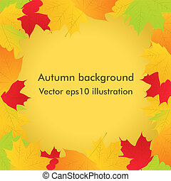Vector autumn background with maple leaves