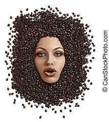 face shot of immersed girl in coffee beans - close up of...