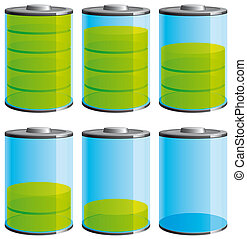 Battery level icons - Illustration Battery level  icons