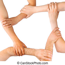 Business people linking hands in teamwork