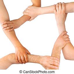 negócio, pessoas, ligação, mãos,...