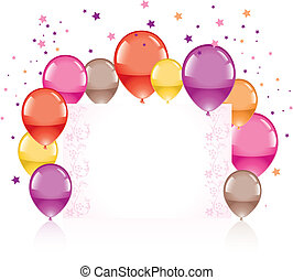 festive colorful balloons and greeting card