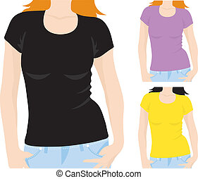 womens t-shirt template, vector