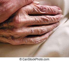 Hand of old age - The wrinkled skin of a very old age hand....