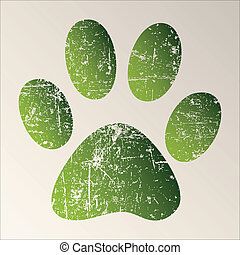 Paw Print - Print green paws on a white background.