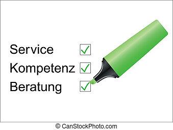 Checklist Service/Kompetenz with marker