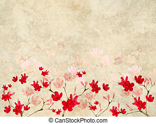 Red and Pink Blossom print on Ribbed Parchment with text...