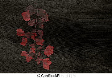 Red Flower print on Black Coconut Pape