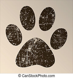 Paw Print - Print black paws on a white background.