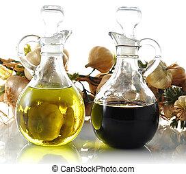 oil and vinegar bottles , close up