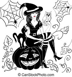 witch with an owl on her arm on the eve of halloween