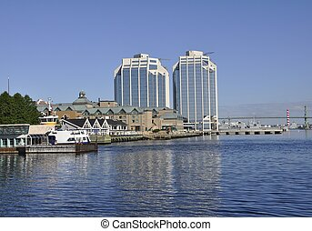 Halifax Harbour - Halifax downtown passenger ferry terminal;...