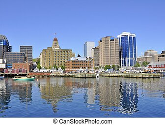 Halifax Skyline and Harbor front seen from the ocean,...
