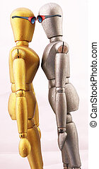Mannequins - Two mannequins in bronze colors as pair with...