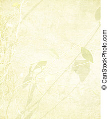 Tangle Branch and Leaves on Pale Peach Paper