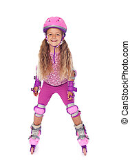 Roller skating little girl laughing - isolated - Roller...