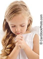 Little girl praying - Beautiful little girl praying -...