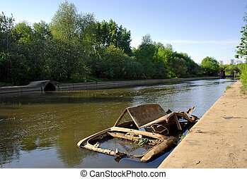 Abandoned body of the car in the river - Abandoned rusty...