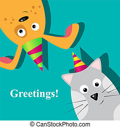 Greeting card - Vector greeting card with dog and cat