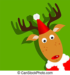 Rudolph - Vector xmas greeting card with Rudolph