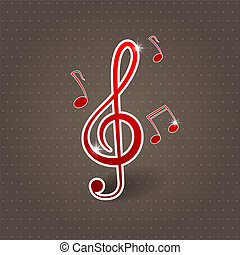 Treble clef - Vector musical background with treble clef