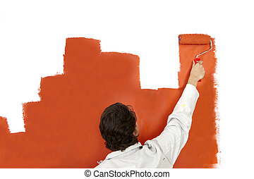 Painting a graph - Painter, painting a wall with a paint...