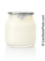 Yogurt jar isolated on white, clipping path included