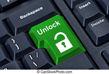 Button keypad unlock with padlock icon. Internet concept.