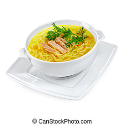Chicken Noodle Soup isolated - Chicken noodle soup on a...