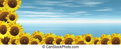 Blue ocean and sunflowers