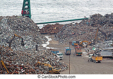 scrap yard recycling at day in hong kong