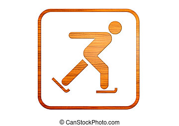deportes, de, hecho, madera, señal