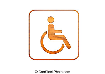wheelchair symbol in wood