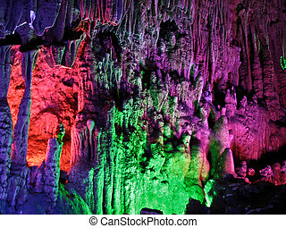 Beautiful stalactite in the cave Yinziyan, Yangshuo, Guilin,...