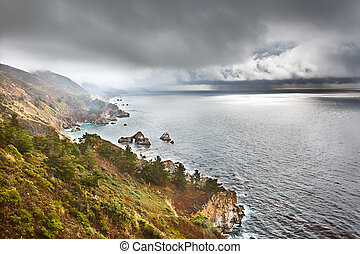 Pacific coast in Big Sur, California, US
