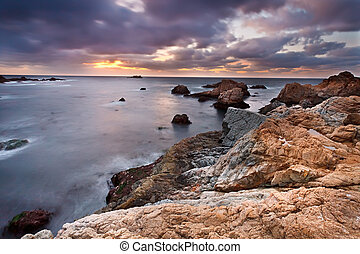 Pacific coast at sunset, California, US