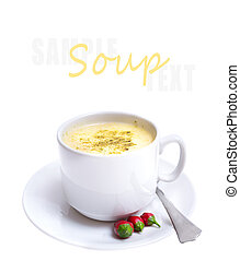 vegetable soup on white with sample text