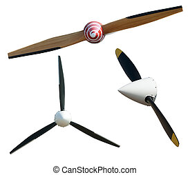 Airplane propeller - Tree airplane propeller white isolated.