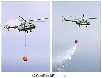 Helicopter extinguish fire