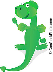 funny green dragon - Funny green dragon Color illustration