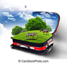 Red suitcase with green nature inside