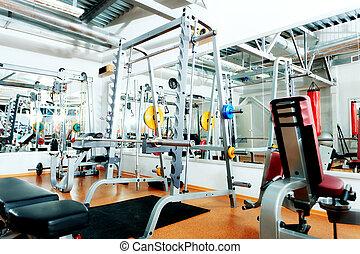 interior - Gym centre interior. Equipment, gym apparatus.