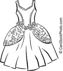 Retro dress Outline illustration