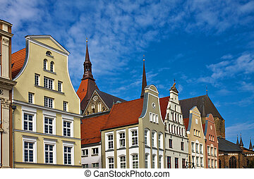 Historical buildings in Rostock Germany