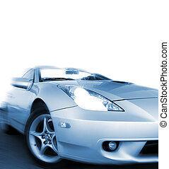 Fast sportcar isolated on white background (toned in blue)