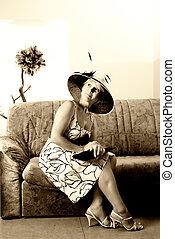 elegante, mulher,  sepia, sofá, Retrato