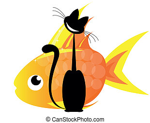 cat and gold fish - Big black cat and big gold fish