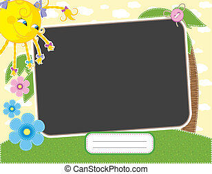 Baby summer frame with fun sun. Contains clipping mask and...